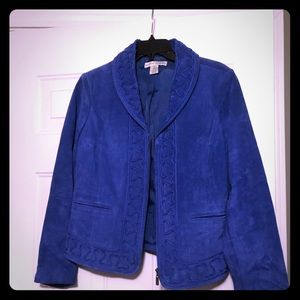 Royal Blue Suede Leather Bamboo Jacket. M